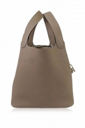 Hermes Handbag Picotin Lock 22 MM Gris asphalt Taurillon Mourice SHW