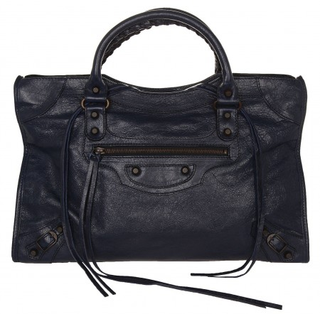 Balenciaga Women Giant City Bag Palladium Bleu de minuit BAL061