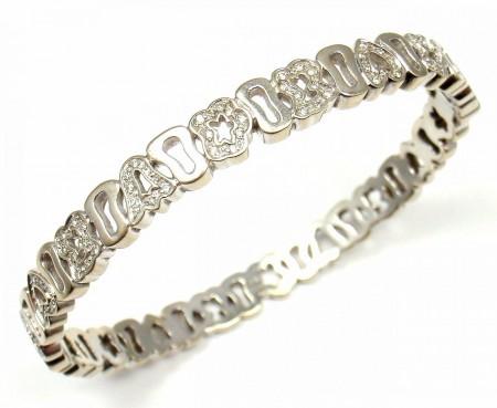 "Tous 18k White Gold Diamond Teddy Bear Heart Star Crown Bracelet 26.7g 6.75"""