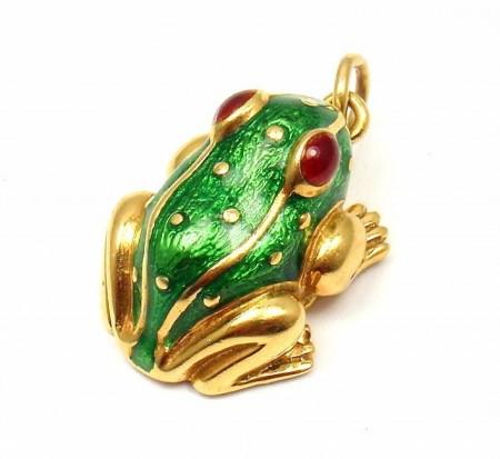 Rare! Vintage David Webb 18k Yellow Gold Green Red Enamel Baby Frog Pendant