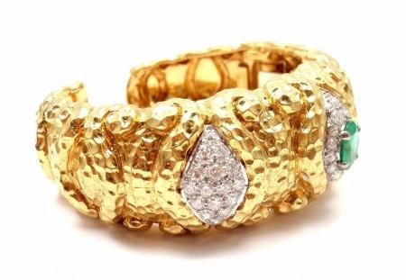 Rare Wander France 18k Yellow Gold 3.00ctw Diamond 1.75ct Emerald Cuff Bracelet