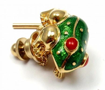 Rare! Vintage David Webb 18k Yellow Gold Enamel Lucky Frog Pin Tie Tack