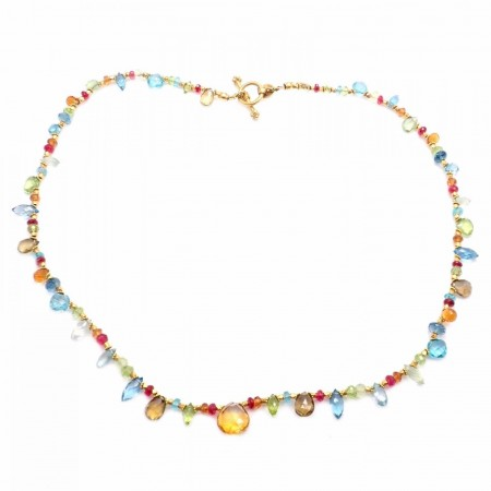Laura Gibson 22k Yellow Gold Citrine Blue Topaz Pink Tourmaline Peridot Necklace