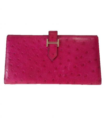 Hermes Wallet Hermès Béarn Ostrich Rose