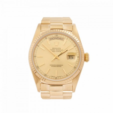 ROLEX DAY-DATE 36 18K YELLOW GOLD MEN'S 18038