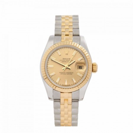 ROLEX DATEJUST 26 STAINLESS STEEL & 18K YELLOW GOLD WOMEN'S 179173