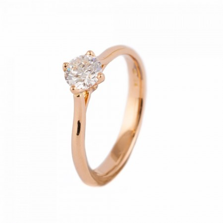 ROSE GOLD ROUND BRILLIANT CUT SOLITAIRE DIAMOND ENGAGEMENT RING