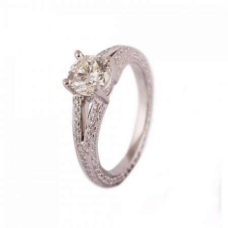 PLATINUM FULL DIAMOND ROUND BRILLIANT CUT RING WITH SHOULDERS