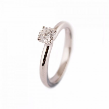 PLATINUM GIA ROUND BRILLIANT CUT DIAMOND TULIP ENGAGEMENT RING