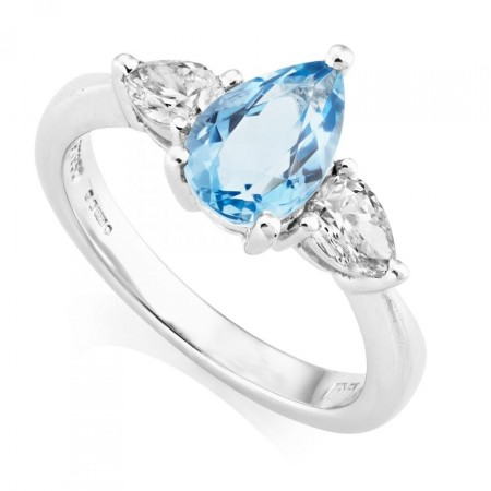 PLATINUM PEAR CUT AQUAMARINE & DIAMOND THREE STONE RING