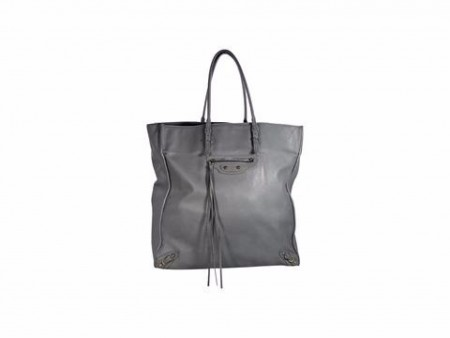 Grey Balenciaga Leather Papier A5 Tote Bag