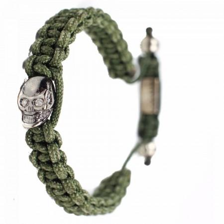 Nialaya - Braided Skull Sterling Silver Bracelet