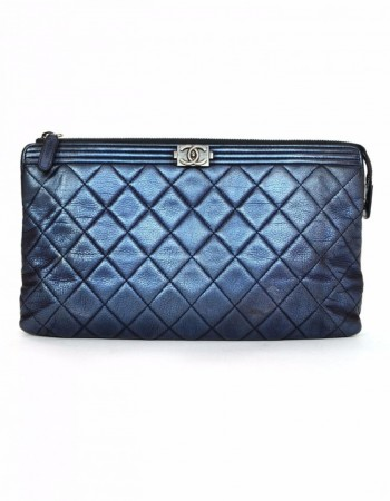 Chanel Metallic Blue Quilted Boy Clutch