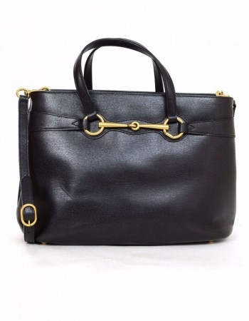 Gucci Black Medium Bright Bit Leather Satchel