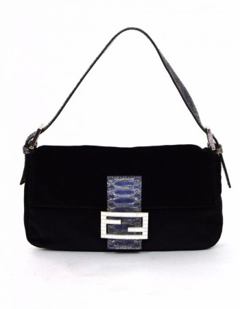 Fendi Black Velvet & Crystal Buckle Baguette