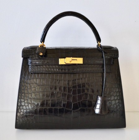 Hermes Kelly 28 Crocodile Porosus black