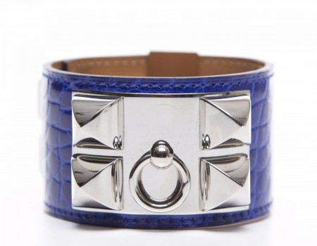 Hermes Electric Blue Alligator Collier de Chien CDC Silver Bracelet