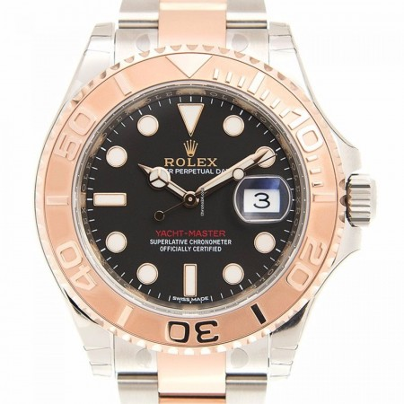 Rolex Yacht Master 18k Rose Gold And Steel Black Automatic