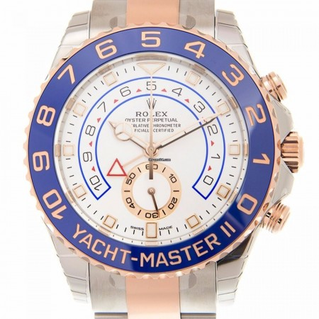 Rolex Yacht Master 18k Rose Gold And Steel White Automatic