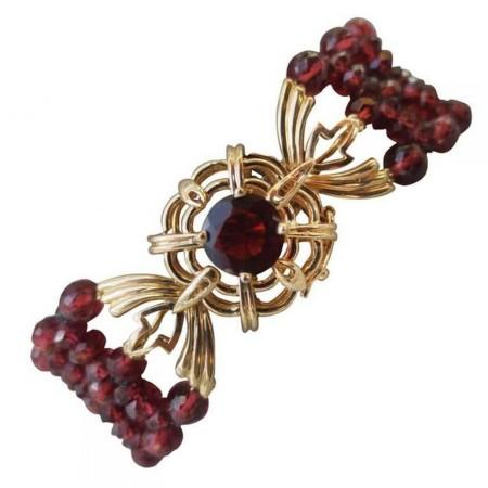 Woven Multi-Strand Faceted Red Garnet Beaded Bracelet and 14k Yellow Gold