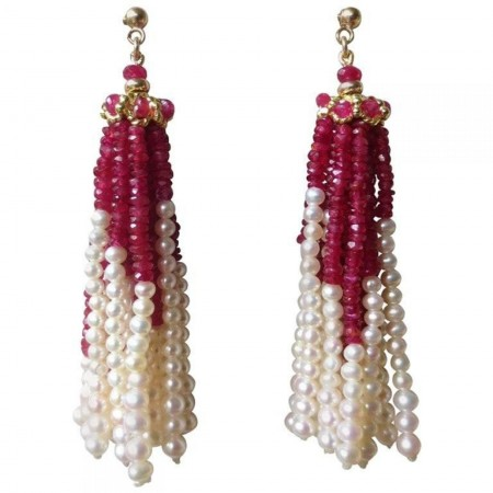 Pearl and Ruby Faceted Beaded Tassel Earrings with 14 Karat Yellow Gold Studs