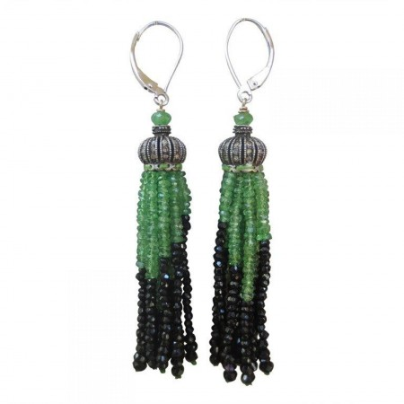 Onyx and Tsavorite Tassel Earrings with Diamonds and 14k White Gold Lever Backs