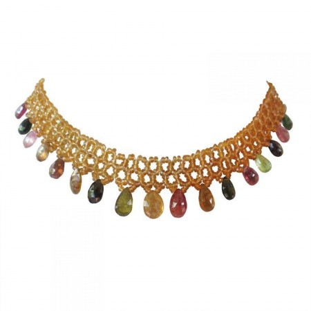 Woven Citrine Necklace with Multi-Color Tourmaline Drops and 14k Gold Clasp