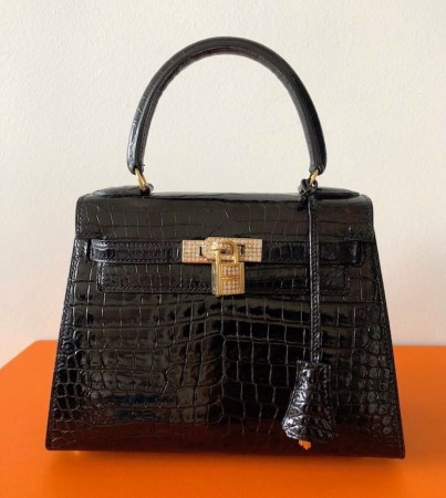 Hermes Kelly 20 Porosus and Diamonds