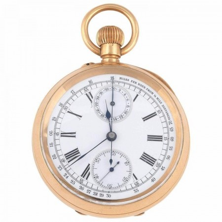 Swiss Yellow Gold Open Face Chronograph Keyless Wind Pocket Watch, circa 1910
