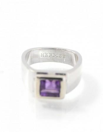 Hermes 18k White Gold & Amethyst Ring sz 6