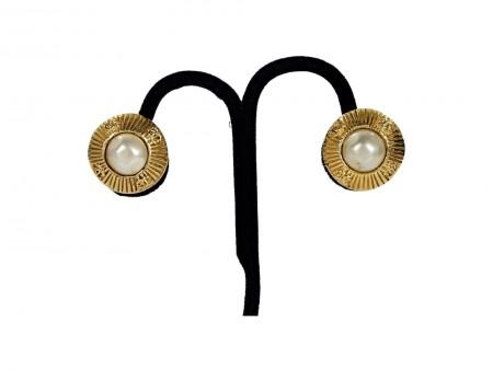 Goldtone Vintage Chanel Pearl Clip-On Earrings