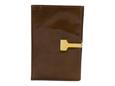 Brown Vintage Gucci Patent Leather Slim Wallet