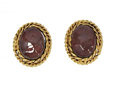 Goldtone Chanel Oval Clip-On Earrings