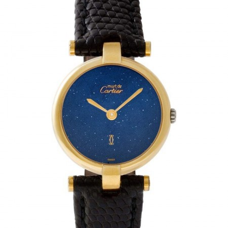 Cartier Vendome vermeil Blue dial 23mm Quartz watch