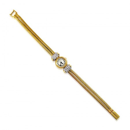 A GOLD AND DIAMOND WATCH, BY CARTIER
