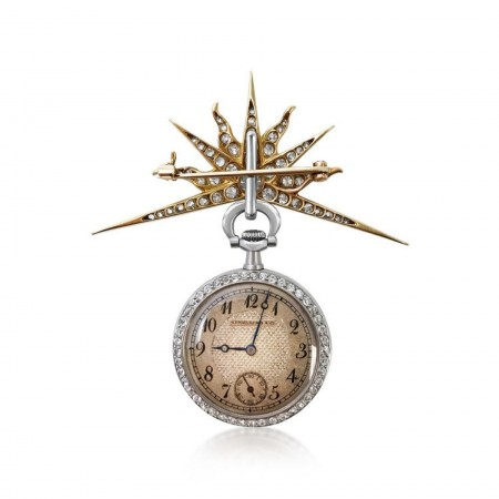 A DIAMOND AND 18K GOLD POCKETWATCH, BY SPAULDING & CO
