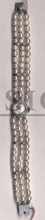 Mathey Tissot, Tissot in 14KWG case with Diamonds & Pearl bracelet