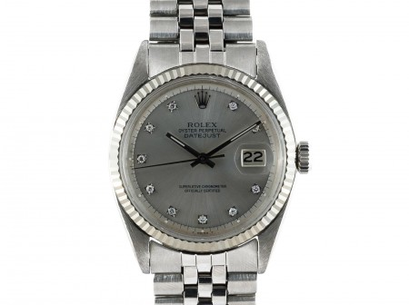 1969 ROLEX DATEJUST 1601 SS GLOSSY SILVER DIAMOND DIAL