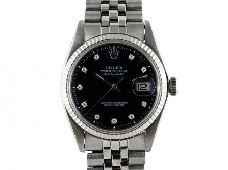 1969 ROLEX DATEJUST 1601 SS GLOSSY BLACK DIAMOND DIAL