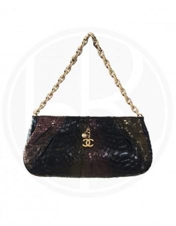 CHANEL Metallic Snakeskin Evening Bag