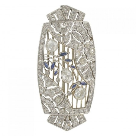 Antique art deco sapphire diamond brooch