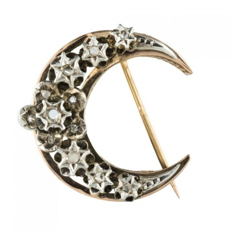 Ancient crescent moon brooch