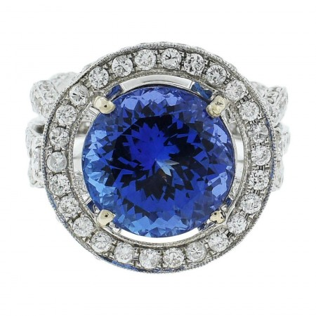 7.73ct DARK Tanzanite and 2.24ctw Diamond 18KT White Gold Ring (GIA CERTIFIED)