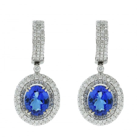 7.44ctw Tanzanite and 2.45ctw Diamond 14KT White Gold Earrings