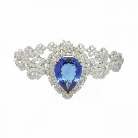 8.59ct Tanzanite and 4.45ctw Diamond 18KT White Gold Bracelet