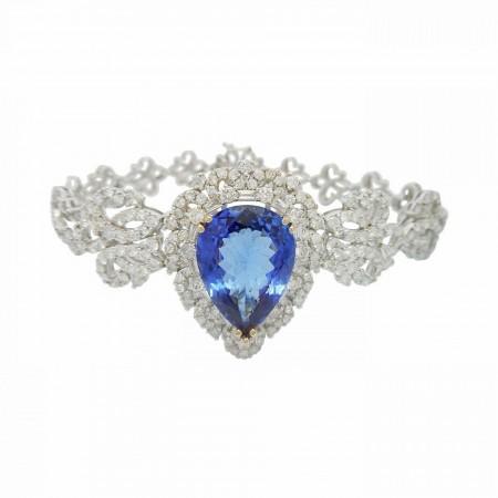 8.59ct Tanzanite and 4.45ctw Diamond 18KT White Gold Bracelet