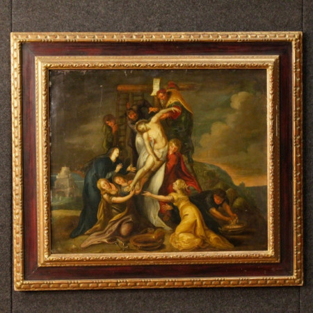 19th Century Oil On Sheet Antique Flemish Religious Painting Christ Deposition