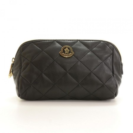Moncler Black Leather Beauty Pouch Bag