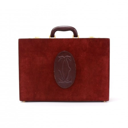 Cartier Must de Cartier Burgundy Suede Leather Briefcase