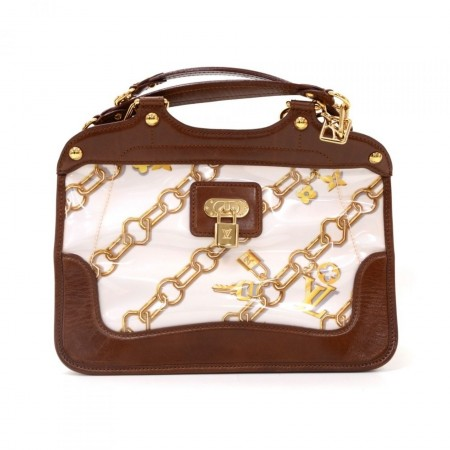 Louis Vuitton Charms Lines Vinyl x Dark Brown Leather Hand Bag